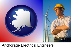 an electrical engineer, with windmills in the background in Anchorage, AK