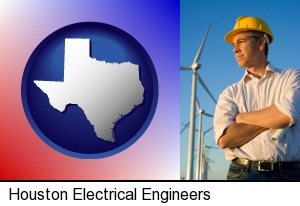 Houston, Texas - an electrical engineer, with windmills in the background
