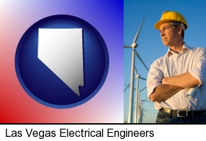 an electrical engineer, with windmills in the background in Las Vegas, NV