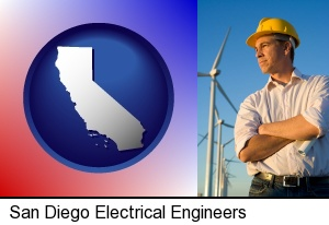 San Diego, California - an electrical engineer, with windmills in the background