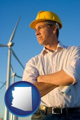 arizona map icon and an electrical engineer, with windmills in the background