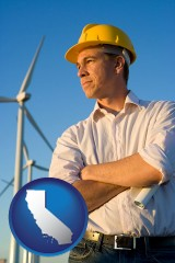 california map icon and an electrical engineer, with windmills in the background