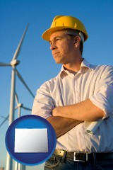 colorado map icon and an electrical engineer, with windmills in the background