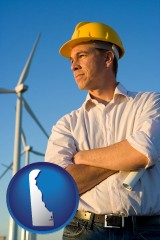 delaware map icon and an electrical engineer, with windmills in the background