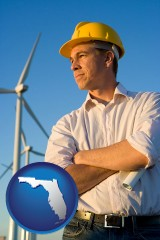 florida map icon and an electrical engineer, with windmills in the background