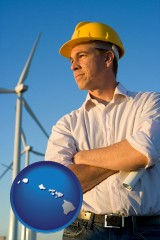 hawaii map icon and an electrical engineer, with windmills in the background