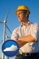 kentucky map icon and an electrical engineer, with windmills in the background