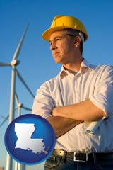louisiana map icon and an electrical engineer, with windmills in the background