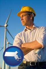 massachusetts map icon and an electrical engineer, with windmills in the background