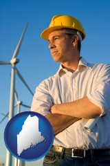 maine map icon and an electrical engineer, with windmills in the background