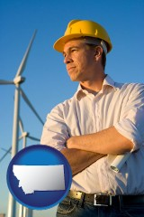 montana map icon and an electrical engineer, with windmills in the background