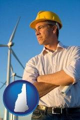 new-hampshire map icon and an electrical engineer, with windmills in the background