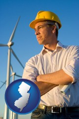 new-jersey map icon and an electrical engineer, with windmills in the background
