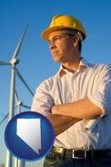 nevada map icon and an electrical engineer, with windmills in the background