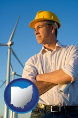 ohio map icon and an electrical engineer, with windmills in the background