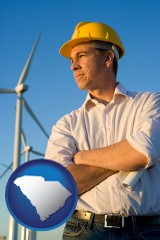 south-carolina map icon and an electrical engineer, with windmills in the background