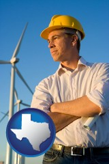 texas map icon and an electrical engineer, with windmills in the background