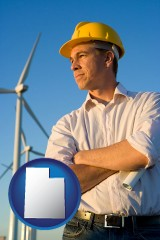 utah map icon and an electrical engineer, with windmills in the background