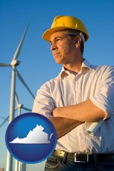 virginia map icon and an electrical engineer, with windmills in the background
