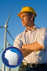 wisconsin map icon and an electrical engineer, with windmills in the background