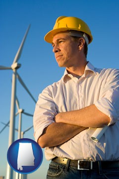 an electrical engineer, with windmills in the background - with Alabama icon