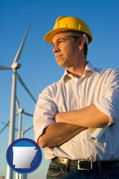 an electrical engineer, with windmills in the background - with Arkansas icon