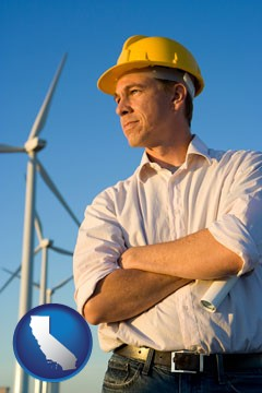 an electrical engineer, with windmills in the background - with California icon