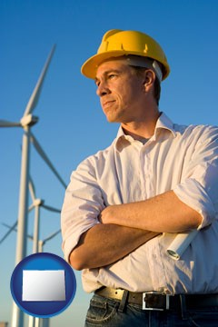 an electrical engineer, with windmills in the background - with Colorado icon