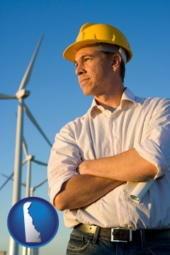 an electrical engineer, with windmills in the background - with Delaware icon