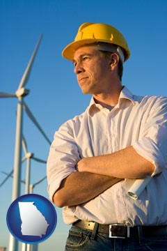 an electrical engineer, with windmills in the background - with Georgia icon