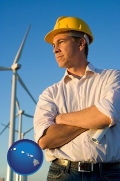 an electrical engineer, with windmills in the background - with Hawaii icon