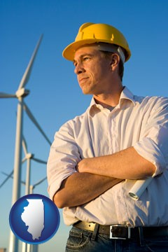 an electrical engineer, with windmills in the background - with Illinois icon