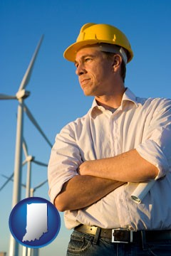 an electrical engineer, with windmills in the background - with Indiana icon