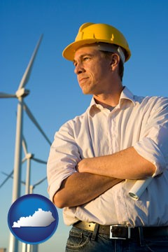 an electrical engineer, with windmills in the background - with Kentucky icon