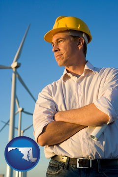 an electrical engineer, with windmills in the background - with Maryland icon