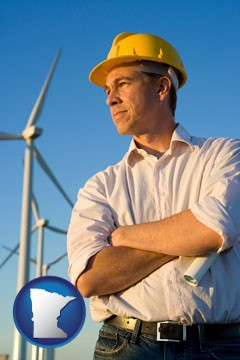 an electrical engineer, with windmills in the background - with Minnesota icon
