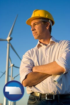 an electrical engineer, with windmills in the background - with Nebraska icon