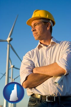 an electrical engineer, with windmills in the background - with New Hampshire icon