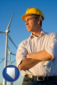 an electrical engineer, with windmills in the background - with Nevada icon