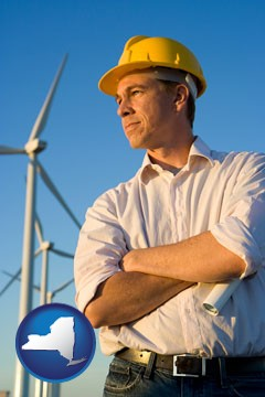 an electrical engineer, with windmills in the background - with New York icon