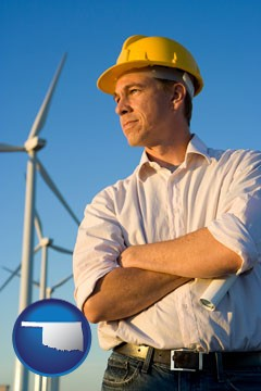 an electrical engineer, with windmills in the background - with Oklahoma icon