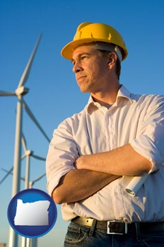 an electrical engineer, with windmills in the background - with Oregon icon