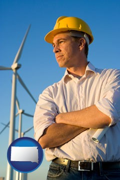 an electrical engineer, with windmills in the background - with South Dakota icon