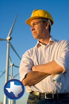 an electrical engineer, with windmills in the background - with Texas icon