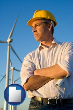 an electrical engineer, with windmills in the background - with Utah icon